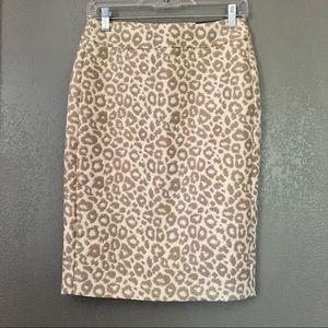 NWT Banana Republic Leopard Pencil Skirt Sz 0